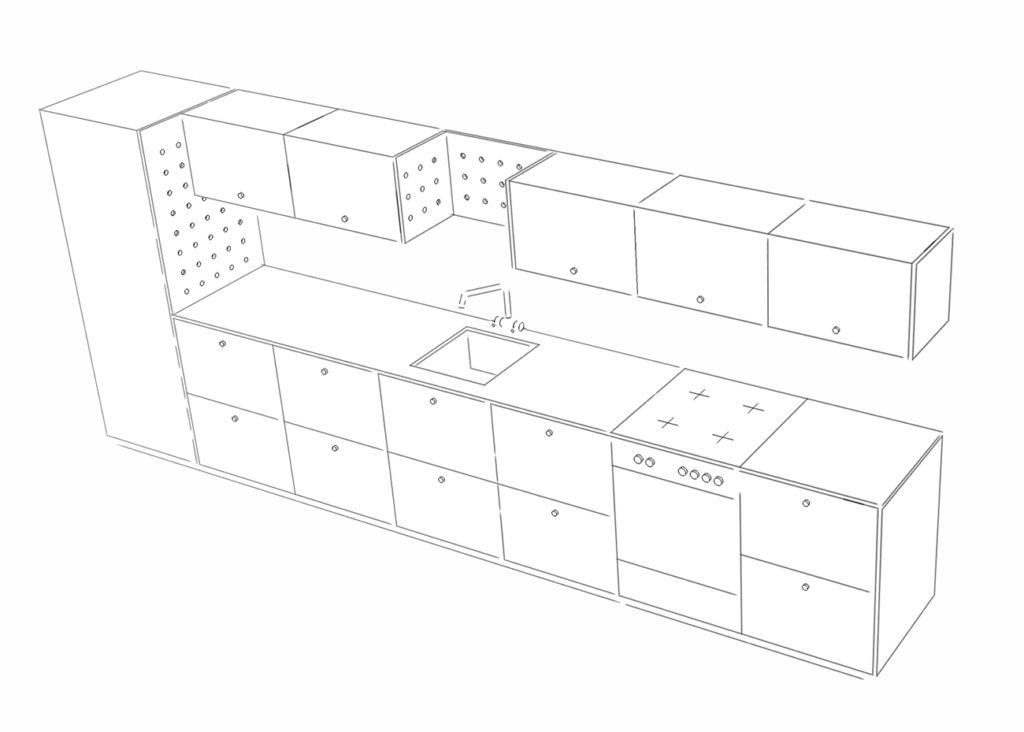 Preisbeispiele für eine Maxi-Küche mit fünf Schrankelementen, zehn Schubladen und einem Ausschnitt in der Arbeitsplatte für ein Spülbecken sowie Pegboards über der Spüle und als Seitenteil für den Hochschrank.