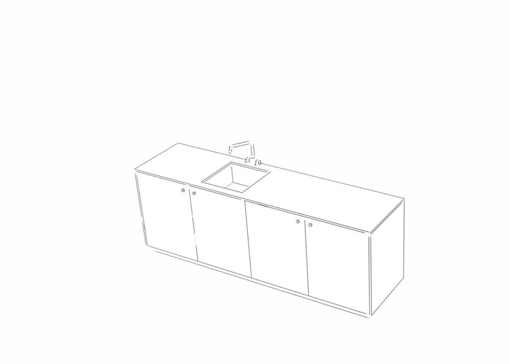 Preisbeispiele für eine Mini-Küche mit vier Schrankelementen und einem Ausschnitt in der Arbeitsplatte für ein Spülbecken.