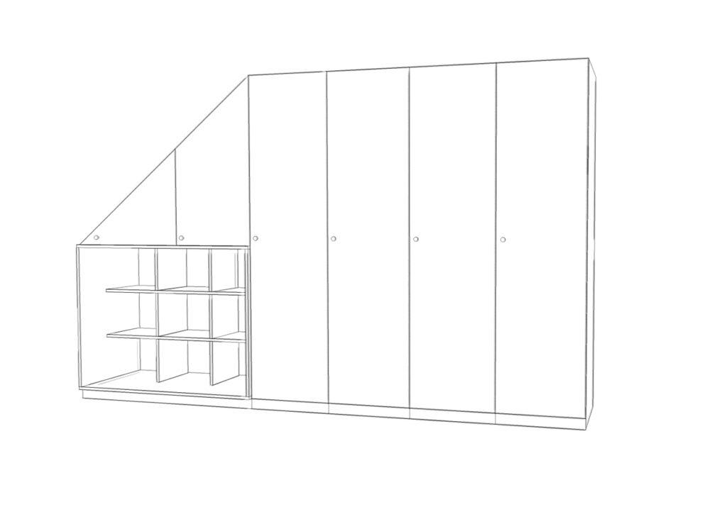 Preisbeispiele für einen Einbauschrank mit sechs Schrankelementen und einem Regal.